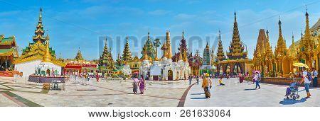 Yangon, Myanmar - February 27, 2018:  Panorama Of Shwedagon Pagoda Complex With Victory Ground (poin