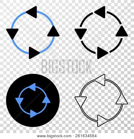 Ccw Circulation Arrows Eps Vector Pictograph With Contour, Black And Colored Versions. Illustration