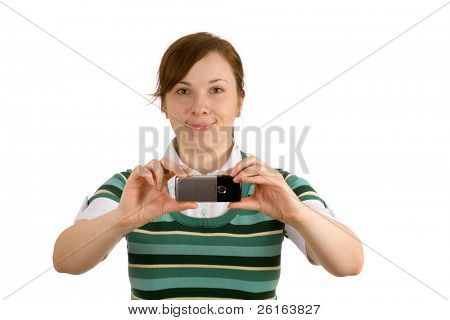 woman isolated on white taking picture, photograph with her mobile phone camera