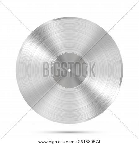 Lp Platinum Record Icon, Gramophone Music Object, Vinyl Disk Record, Vector Illustration