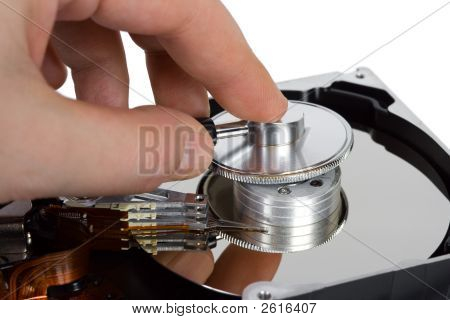 Hand With Stethoscope And Computer Hard Drive