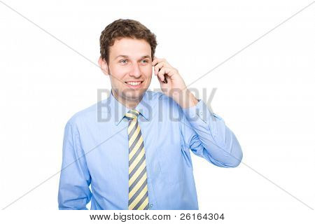 young businessman talks over the mobile phone, studio shoot isolated on white background