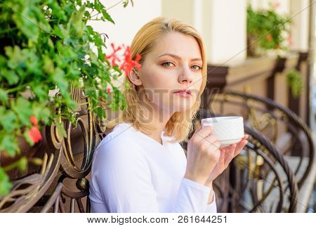 Mug Of Good Coffee In Morning Gives Me Energy Charge. Girl Drink Coffee Every Morning At Same Place