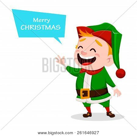 Merry christmas vector photo free trial bigstock merry christmas funny santa claus helper cheerful cute elf cartoon character usable for greeting card banner poster flyer label or tag m4hsunfo