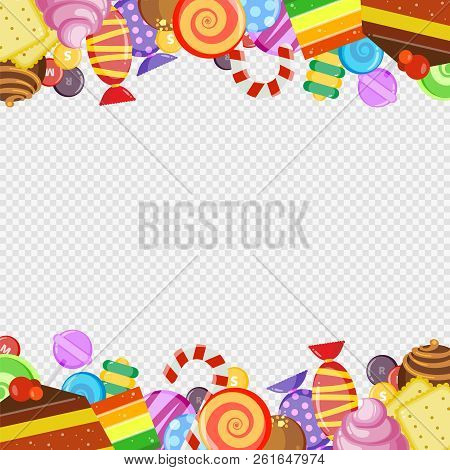 Abstract Frame With Sweets. Colorful Caramel And Chocolate Candies Biscuits And Cakes Lollipop Sweet