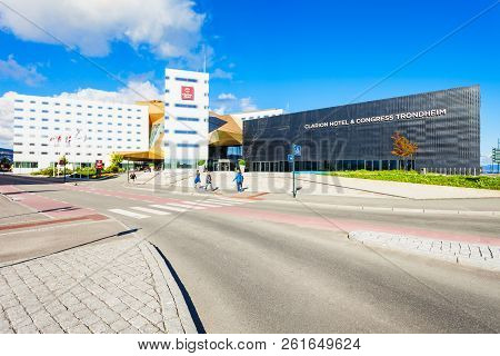 Trondheim, Norway - August 03, 2017: Clarion Hotel And Congress Trondheim, Located By The Harbour In