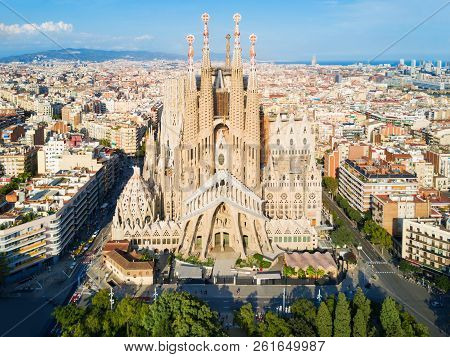 Barcelona, Spain - October 03, 2017: Sagrada Familia Cathedral Aerial Panoramic View. Sagrada Famili