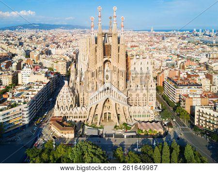 Barcelona, Spain - October 03, 2017: Sagrada Familia Cathedral Aerial Panoramic View. Sagrada Famili