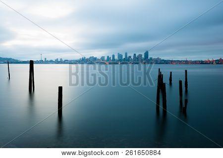 Puget Sound And City Skyline, Seattle, Washington State, Usa