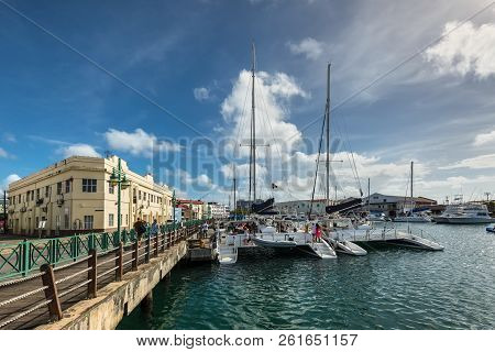 Bridgetown, Barbados - December 18, 2016: The Downtown Marina Of Bridgetown, Barbados. Historic Brid