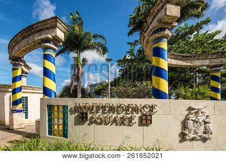 Bridgetown, Barbados - December 18, 2016: The Columns Are Wrapped In The Colors Of The National Flag