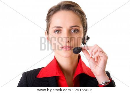 female customer service operator, helpdesk support, red shirt and black jacket, studio shoot isolated on white