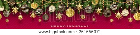 Christmas Golden Decoration And Christmas Tree Branches On A Red Background. Seamless Frieze. Vector