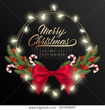 Holidays Background For Merry Christmas Greeting Card With A Realistic Green Garland Of Pine Tree Br