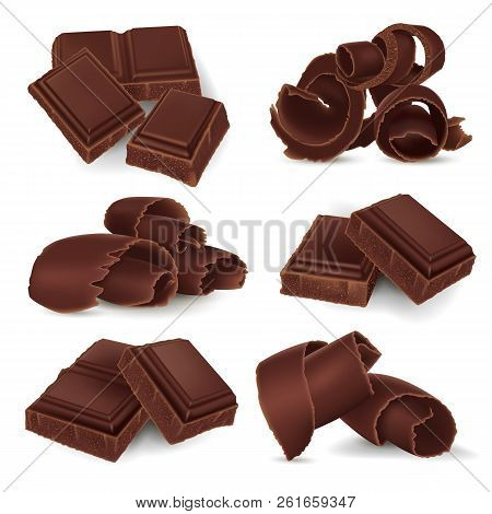 Set Of Broken Chocolate Bars And Shavings On White Background, Realistic Vector Illustration