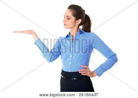 woman with empty hand, copyspace, studio shoot isolated on white