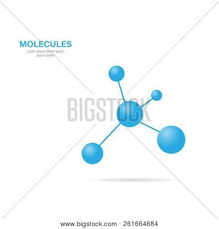Molecule with shadow on a white background, vector poster