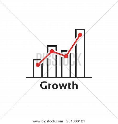 Simple Thin Line Growth Logo Like Success. Contour Flat Style Trend Modern Logotype Graphic Art Desi