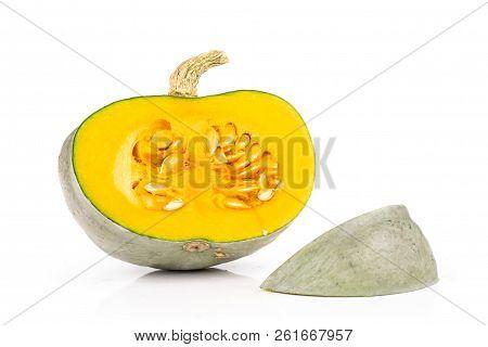 Group Of One Half One Slice Of Fresh Blue Grey Pumpkin Nagy Dobosi Variety Bright Orange Flesh Isola
