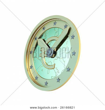 Time is the money: symbolized euro coin as a clock