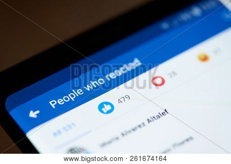 New York, Usa - October 4, 2018: People Reaction Signs In Facebook On Smartphone Screen Close Up Vie