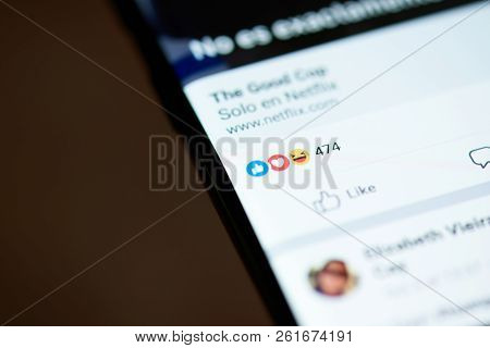 New York, Usa - October 4, 2018: Reaction On Facebook Post In Smartphone Screen Close Up View