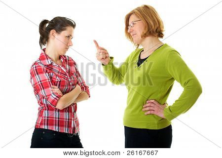 mother warn her daughter for bad behavior, isolated on white