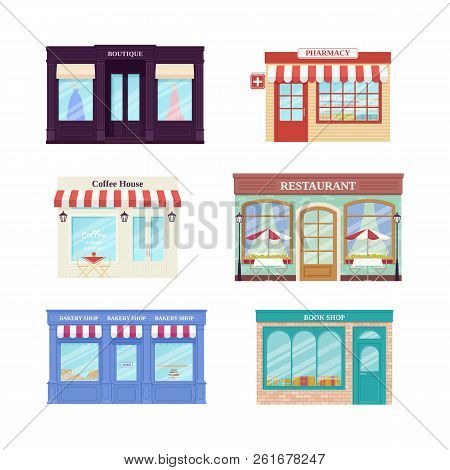 Shop, Store Front. Vector. Storefronts Boutique, Cafe, Restaurant, Pharmacy, Bakery Store And Book S