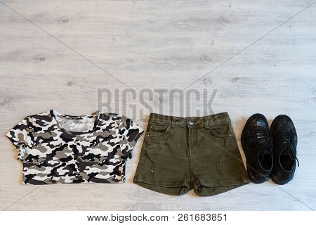 Teen Clothing Set: Green Shorts, T-short And Boots In Military Style
