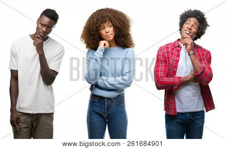 Collage of african american group of people over isolated background with hand on chin thinking about question, pensive expression. Smiling with thoughtful face. Doubt concept.