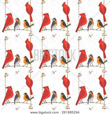 Small Birds Seamless Pattern. Red Northern Cardinal, Robin Cute Cartoon. Winter Birds Of City Garden