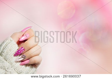 Colorful  Nail Art . Manicure.  Holiday Style Bright Manicure With Gems And Sparkles. Nail Polish. F