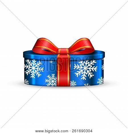 Gift Box 3d, Red Ribbon Bow Isolated White Background. Decoration Present Blue Gift-box For Happy Ho