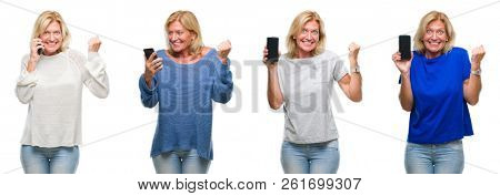 Collage of beautiful middle age blonde woman using smartphone over white isolated backgroud screaming proud and celebrating victory and success very excited, cheering emotion