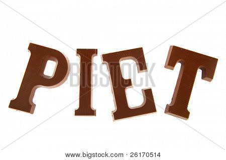Chocolate Sinterklaas letters with the word Piet