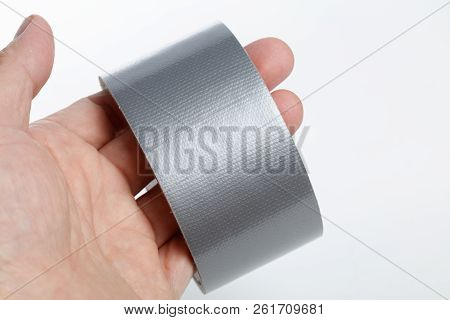 Silver Repair Duct Tape With White Background