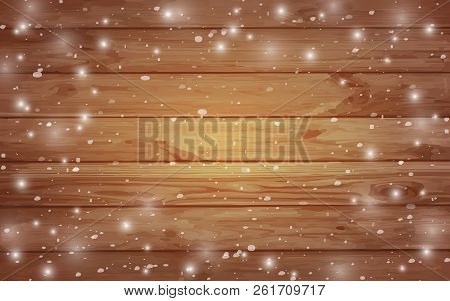 Christmas Greeting Card Template With  Snowflakes And Frost On A Wooden Background. Christmas Wooden
