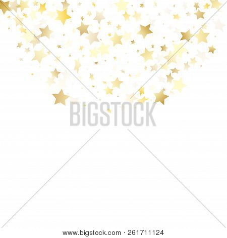 Flying Gold Star Sparkle Vector With White Background. Decorative Gold Gradient Christmas Sparkles G