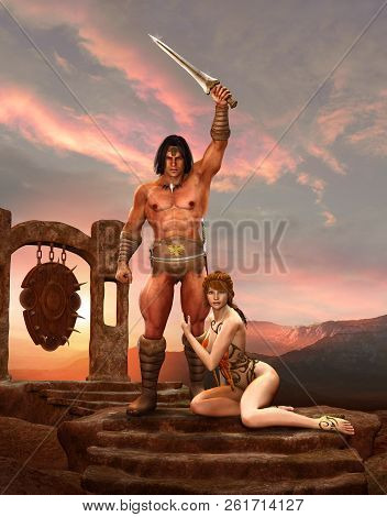 A Barbarian Fantasy Warrior Or Warlord Poses With His Sword And A Slave Girl, 3d Render Painting