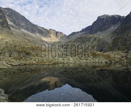 View On Mountain Lake Prostredne Spisske Pleso High Tatras In Slovakia With Mountain Ridge Nd Blue S