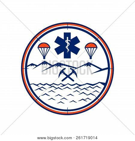 Mascot Icon Illustration Of And, Sea And Air Rescue Showing Star Of Life Emt Symbol With Rod Of Ascl