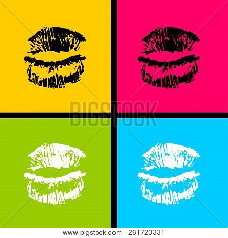 Open Mouth Woman Lips Pop Art Style. Vector Fashion Kitsch Cartoon Sketch Design. Wow Modern Glossy