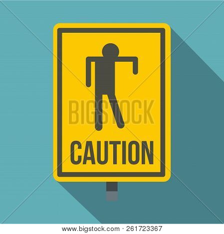 Yellow Caution Zombie Sign Icon. Flat Illustration Of Yellow Caution Zombie Sign Icon For Web Isolat