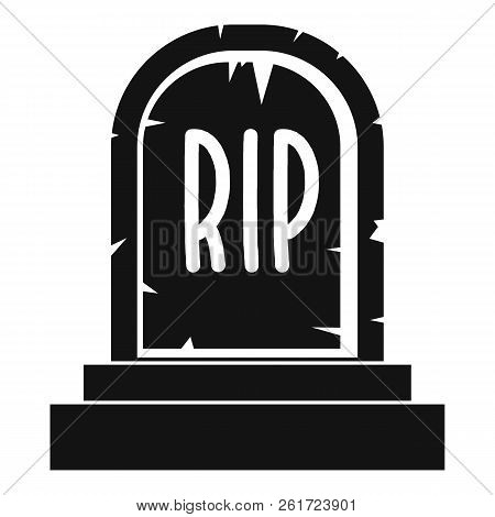 Gravestone with RIP text icon. Simple illustration of gravestone with RIP text icon for web poster