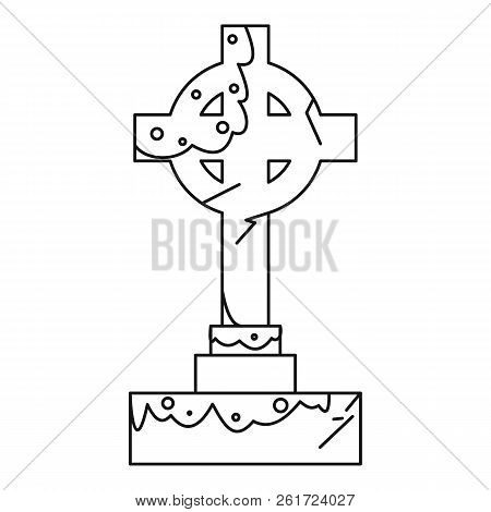 Celtic cross gravestone icon. Outline illustration of celtic cross gravestone icon for web poster