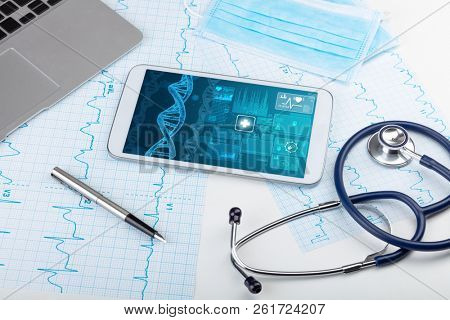 Genetic test and biotechnology concept with medical technology devices