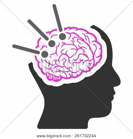 Vector Brain Autopsy Illustration. An Isolated Illustration On A White Background.