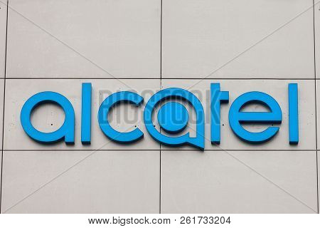 Belgrade, Serbia - October 2, 2018: Alcatel Logo On Their Main Office For Serbia. Alcatel Is A Mobil