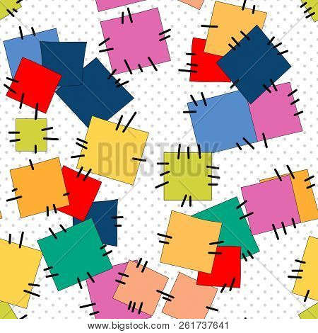 Seamless Patches Quilt Pattern On Polka Dot White Background
