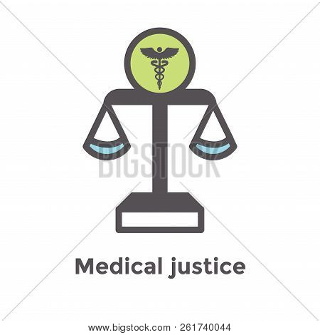 Medical Lawsuit Icon W Legal Imagery Showing Medical Malpractice - Outline